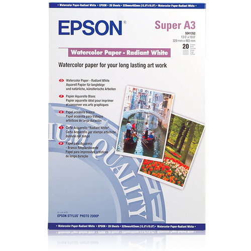Epson - Radiant white - A3 plus (329 x 423 mm) - 188 g/m² - 20 sheet(s) watercolour paper - for Stylus Pro 4900 Spectro M1; SureColor P400, P5000, P800, SC-P10000, P20000, P400, P5000