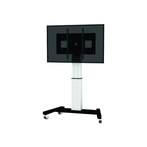 "NewStar Motorized (Height Adjustable) Mobile Floor Stand for 42-100"" Screen, Silver - Cart for LCD / plasma panel / media player / mini PC (motorised) - silver - screen size: 42""-100"""