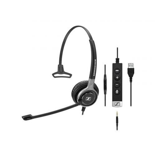 Sennheiser Century SC 635 USB - Headset - on-ear - wired - USB, 3.5 mm jack - black, silver