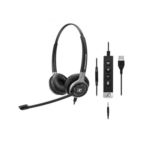 Sennheiser Century SC 665 USB - Headset - on-ear - wired - USB, 3.5 mm jack - black, silver