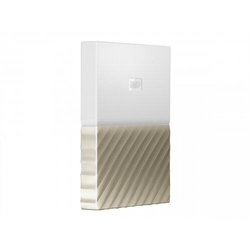 WD My Passport Ultra WDBTLG0020BGD - Hard drive - encrypted - 2 TB - external (portable) - USB 3.0 - 256-bit AES - white-gold