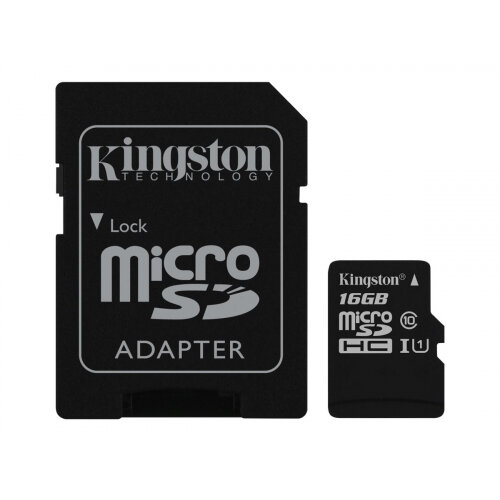 Kingston Canvas Select - Flash memory card (microSDXC to SD adapter included) - 16 GB - UHS-I U1 / Class10 - microSDHC UHS-I