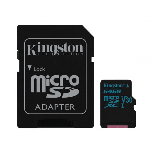Kingston Canvas Go! - Flash memory card (microSDXC to SD adapter included) - 64 GB - Video Class V30 / UHS-I U3 / Class10 - microSDXC UHS-I