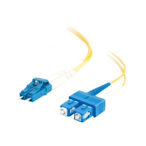 C2G LC-SC 9/125 OS1 Duplex Singlemode PVC Fiber Optic Cable (LSZH) - Patch cable - SC single-mode (M) to LC single-mode (M) - 30 m - fibre optic - 9 / 125 micron - OS1 - halogen-free - yellow