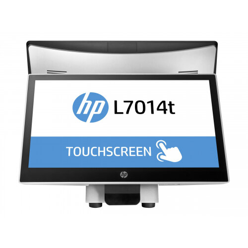 """HP L7014t Retail Touch Monitor - LED monitor with KVM switch - 14"""" (14"""" viewable) - touchscreen - 1366 x 768 - TN - 200 cd/m² - 350:1 - 16 ms - DisplayPort - HP black, asteroid"""
