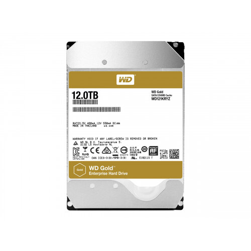 "WD Gold Enterprise-Class Hard Drive WD121KRYZ - Hard drive - 12 TB - internal - 3.5"" - SATA 6Gb/s - 7200 rpm - buffer: 256 MB"