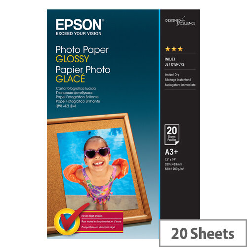 Epson - Glossy - A3 Plus (329 x 483 mm) - 200 g/m² - 20 sheet(s) photo paper - for Expression Photo HD XP-15000, XP-960; SureColor SC-P405, T5200, T7200; WorkForce WF-7720