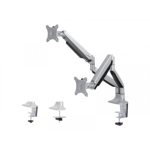 "NewStar NeoMounts Full Motion Dual Desk Mount (clamp &grommet) for two 10-32"" Monitor Screens, Height Adjustable (gas spring) - Silver - Desk mount for 2 LCD displays - silver - screen size: 10""-32"""