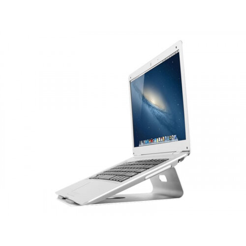 "NewStar Tilted Aluminium Laptop Stand - Silver - Stand for notebook - brushed aluminium - silver - screen size: 10""-17"" - table-top"