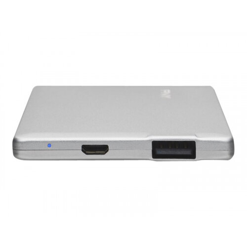 PNY PowerPack ALU 2500 - Power bank - 2500 mAh - 1 A (USB) - on cable: Micro-USB - silver