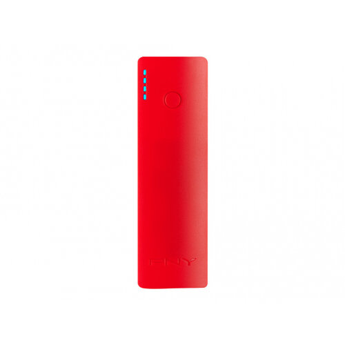 PNY PowerPack Curve 2600 - Power bank - 2600 mAh - 1 A (USB) - on cable: Micro-USB - red