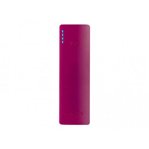 PNY PowerPack Curve 2600 - Power bank - 2600 mAh - 1 A (USB) - on cable: Micro-USB - purple