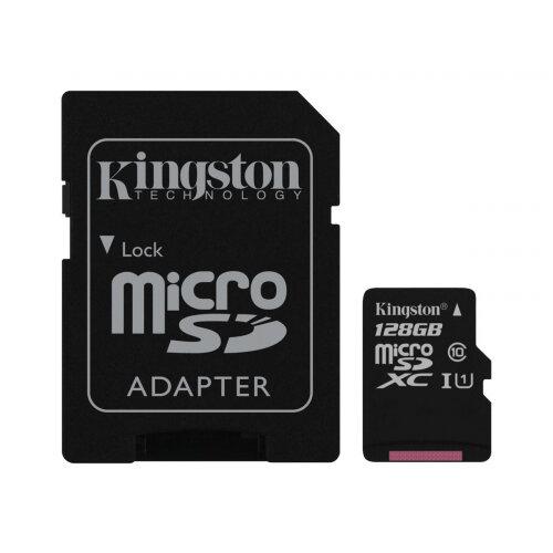Kingston Canvas Select - Flash memory card (microSDXC to SD adapter included) - 128 GB - UHS-I U1 / Class10 - microSDXC UHS-I