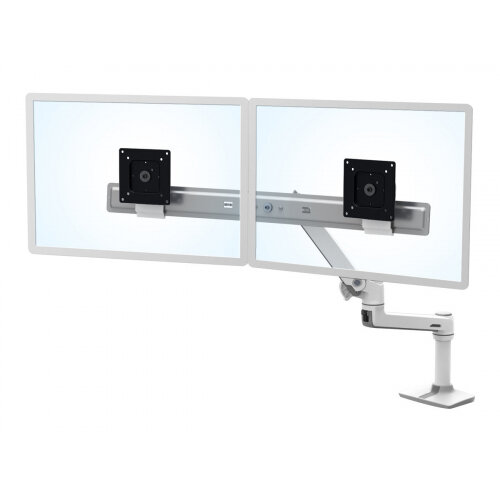 """Ergotron LX Desk Dual Direct Arm - Mounting kit (handle, articulating arm, desk clamp mount, 2 pivots, mounting hardware, hinge, extension part) for 2 LCD displays - white - screen size: up to 32"""" - desk-mountable"""