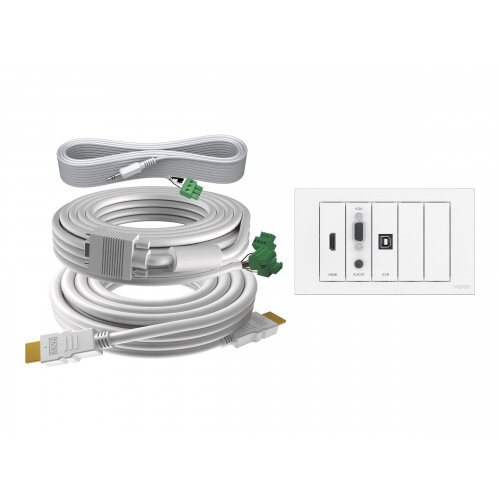 VISION TechConnect 3 Wall-Mount Faceplate Package - Modular facility plate kit with snap-ins and cables - HD-15, mini-phone stereo 3.5 mm, HDMI, USB Type B - matt white - 2-gang