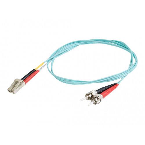 C2G LC-ST 10Gb 50/125 OM3 Duplex Multimode PVC Fiber Optic Cable (LSZH) - Network cable - ST multi-mode (M) to LC multi-mode (M) - 7 m - fibre optic - 50 / 125 micron - OM3 - halogen-free - aqua