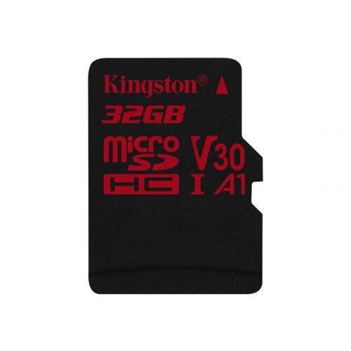 Kingston Canvas React - Flash memory card - 32 GB - A1 / Video Class V30 / UHS-I U3 / Class10 - microSDHC UHS-I