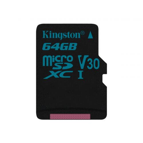 Kingston Canvas Go! - Flash memory card - 64 GB - Video Class V30 / UHS-I U3 / Class10 - microSDXC UHS-I