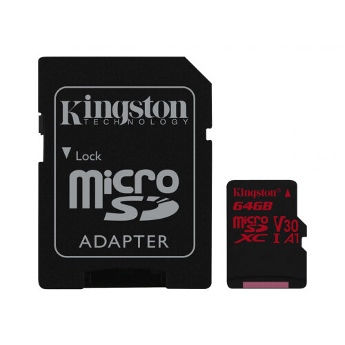 Kingston Canvas React - Flash memory card (microSDXC to SD adapter included) - 64 GB - A1 / Video Class V30 / UHS-I U3 / Class10 - microSDXC UHS-I