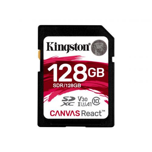 Kingston Canvas React - Flash memory card - 128 GB - A1 / Video Class V30 / UHS-I U3 / Class10 - SDXC UHS-I