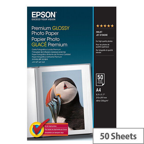 Epson Premium - Glossy - resin coated - A4 (210 x 297 mm) - 255 g/m² - 50 sheet(s) photo paper - for EcoTank ET-16500; Expression Home HD XP-15000; Expression Premium XP-540, 6000, 6005, 900