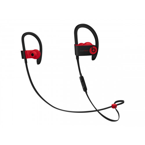 Beats Powerbeats3 - The Beats Decade Collection - earphones with mic - in-ear - over-the-ear mount - Bluetooth - wireless - noise isolating - red, defiant black - for Apple iPad/iPhone/iPod (Lightning)