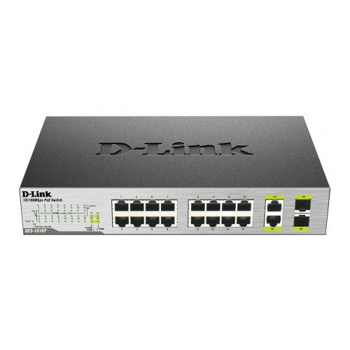 D-Link DES 1018MP - Switch - unmanaged - 16 x 10/100 (PoE) + 2 x combo Gigabit SFP - desktop - PoE (80 W)
