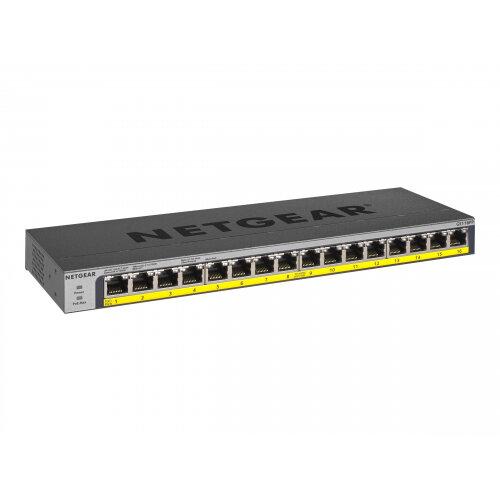 NETGEAR GS116PP - Switch - unmanaged - 16 x 10/100/1000 (PoE+) - desktop, rack-mountable, wall-mountable - PoE+ (183 W) - DC power