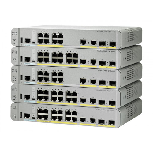 Cisco Catalyst 3560CX-12TC-S - Switch - Managed - 12 x 10/100/1000 + 2 x combo Gigabit SFP - desktop, rack-mountable, DIN rail mountable, wall-mountable