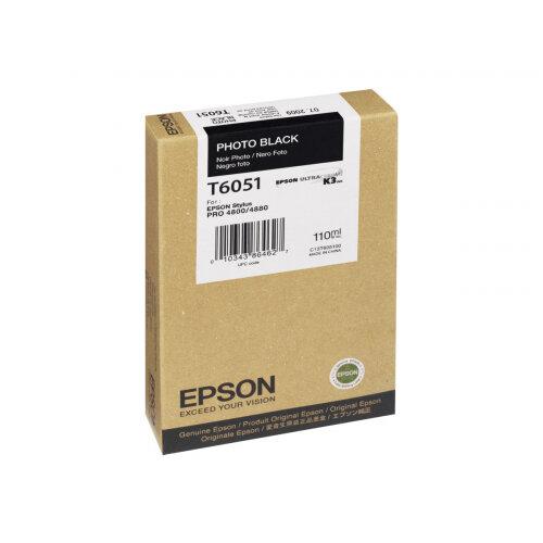 Epson T6051 - 110 ml - photo black - original - ink cartridge - for Stylus Pro 4800, Pro 4880, Pro 4880 AGFA