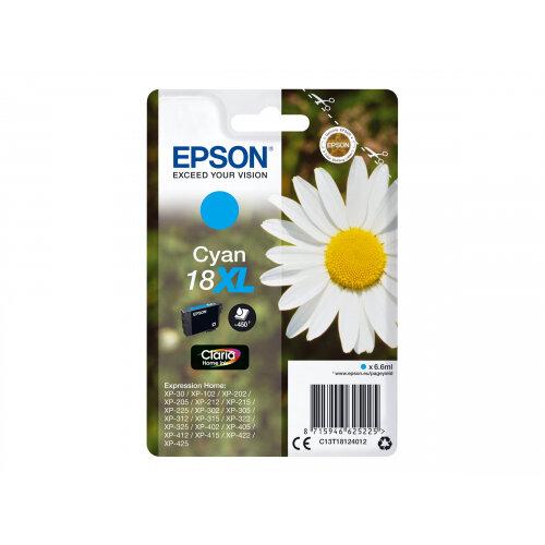 Epson 18XL - 6.6 ml - XL - cyan - original - ink cartridge - for Expression Home XP-212, 215, 225, 312, 315, 322, 325, 412, 415, 422, 425