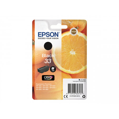 Epson 33 - 6.4 ml - black - original - blister - ink cartridge - for Expression Home XP-635, 830; Expression Premium XP-530, 540, 630, 635, 640, 645, 830, 900
