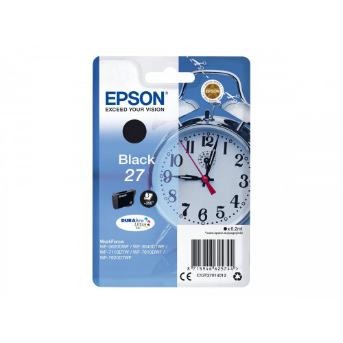 Epson 27 - 6.2 ml - black - original - blister with RF/acoustic alarm - ink cartridge - for WorkForce WF-3620, WF-3640, WF-7110, WF-7610, WF-7620, WF-7715, WF-7720