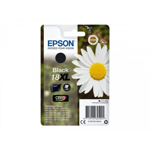 Epson 18XL - 11.5 ml - XL - black - original - ink cartridge - for Expression Home XP-212, 215, 225, 312, 315, 322, 325, 412, 415, 422, 425