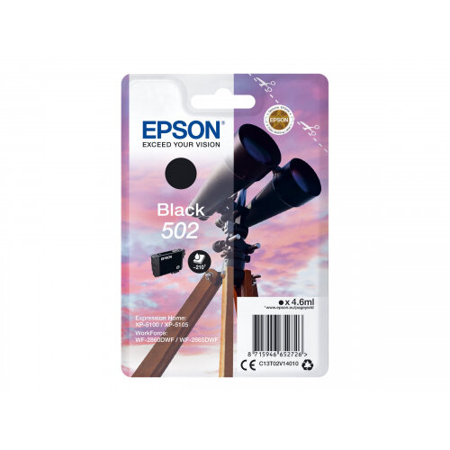 Epson 502 - 4.6 ml - black - original - blister - ink cartridge - for Expression Home XP-5100, XP-5105; WorkForce WF-2860, WF-2860DWF, WF-2865DWF