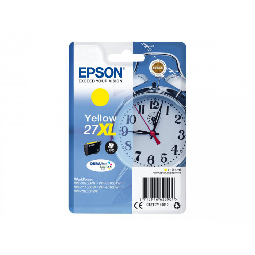 Epson 27XL - 10.4 ml - XL - yellow - original - ink cartridge - for WorkForce WF-3620, WF-3640, WF-7110, WF-7210, WF-7610, WF-7620, WF-7710, WF-7715, WF-7720