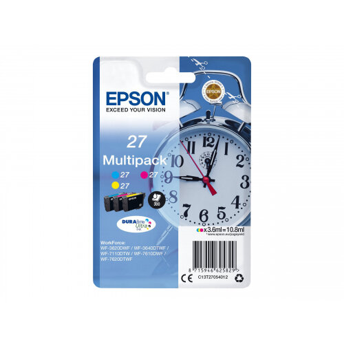Epson 27 Multi-Pack - 3-pack - 10.8 ml - yellow, cyan, magenta - original - ink cartridge - for WorkForce WF-3620, WF-3640, WF-7110, WF-7210, WF-7610, WF-7620, WF-7710, WF-7715, WF-7720