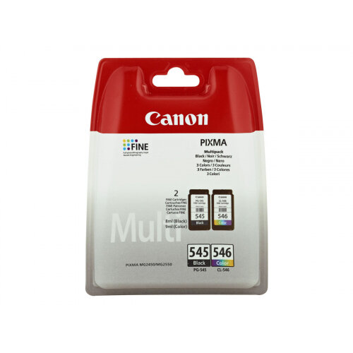 Canon PG-545 / CL-546 Multipack - 2-pack - black, colour (cyan, magenta, yellow) - original - ink cartridge - for PIXMA MG2550, MG2555, MG2950, MG3050, MG3051, MG3052, MG3053, TS205, TS305, TS3150, TS3151