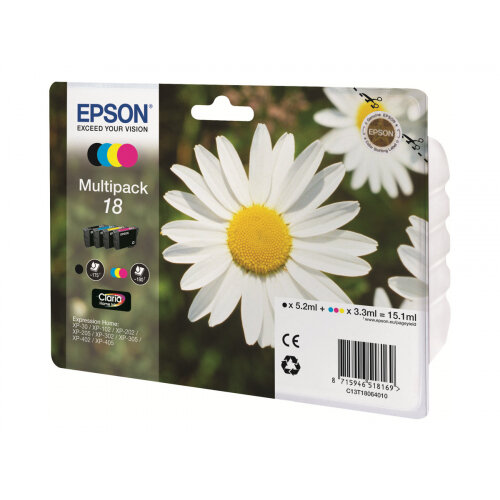 Epson 18 Multipack - 4-pack - 15.1 ml - black, yellow, cyan, magenta - original - ink cartridge - for Expression Home XP-212, 215, 225, 312, 315, 322, 325, 412, 415, 422, 425