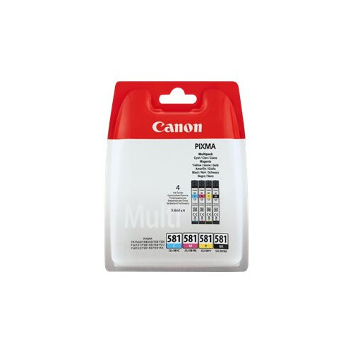 Canon CLI-581 BK/C/M/Y Multi Pack - 4-pack - 5.6 ml - black, yellow, cyan, magenta - original - blister - ink tank - for PIXMA TS6150, TS6151, TS8150, TS8151, TS8152, TS9150, TS9155