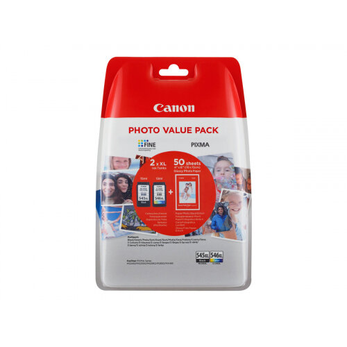 Canon PG-545 XL/CL-546XL Photo Value Pack - 2-pack - High Yield - black, colour (cyan, magenta, yellow) - 100 x 150 mm 50 sheet(s) blister - ink cartridge / paper kit - for PIXMA MG2550, MG2555, MG2950, MG3050, MG3051, MG3052, MG3053, TS205, TS305, TS3150