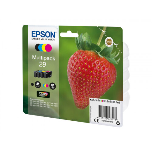 Epson 29 Multipack - 4-pack - black, yellow, cyan, magenta - original - blister - ink cartridge - for Expression Home XP-235, 245, 247, 332, 335, 342, 345, 432, 435, 442, 445, 455