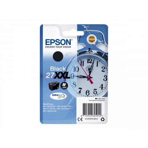 Epson 27XXL - 34.1 ml - XL - black - original - blister with RF/acoustic alarm - ink cartridge - for WorkForce WF-3620, WF-3640, WF-7110, WF-7610, WF-7620, WF-7715, WF-7720