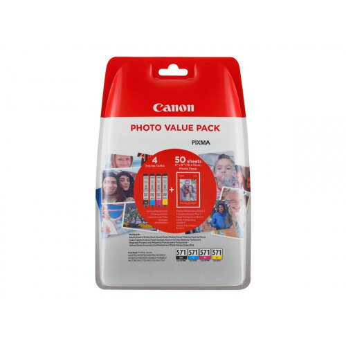 Canon CLI-571 (0386C006) Photo Value Pack 4-pack Capacity 7ml Black, Yellow, Cyan, Magenta 100 x 150mm 50 Sheet(s) Ink Tank / Paper Kit For PIXMA TS5051, TS5053, TS5055, TS6050, TS6051, TS6052, TS8051, TS8052, TS9050, TS9055