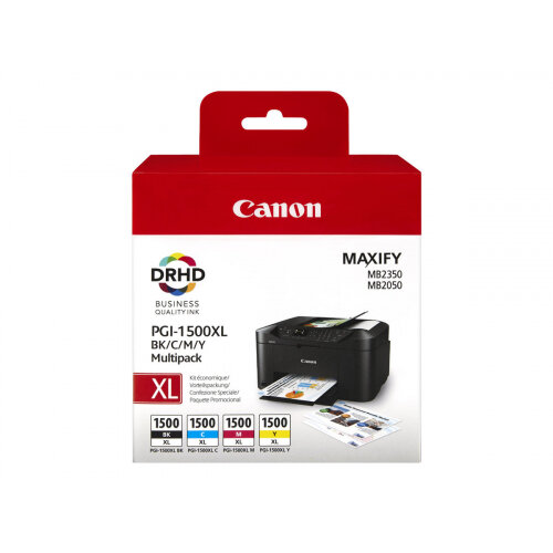 Canon PGI-1500XL C/M/Y/BK Multipack - High Yield - black, yellow, cyan, magenta - original - ink tank - for MAXIFY MB2050, MB2150, MB2155, MB2350, MB2750, MB2755