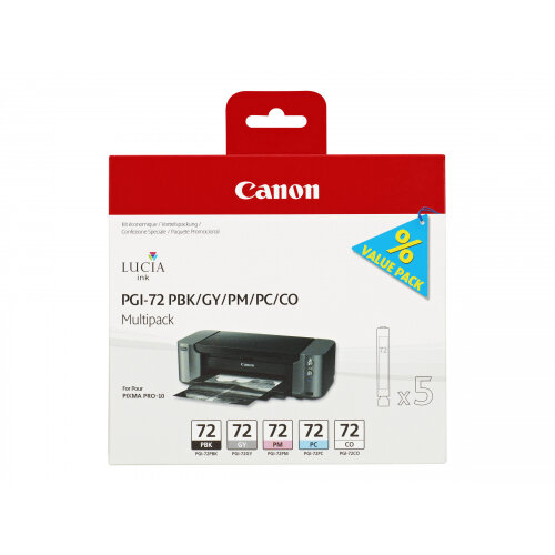Canon PGI-72 PBK/GY/PM/PC/CO Multipack - 5-pack - grey, photo black, photo cyan, photo magenta, chroma optimiser - original - ink tank - for PIXMA PRO-10, PRO-10S; PIXUS PRO-10