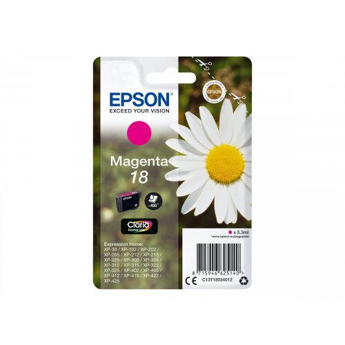 Epson 18 - 3.3 ml - magenta - original - ink cartridge - for Expression Home XP-212, 215, 225, 312, 315, 322, 325, 412, 415, 422, 425