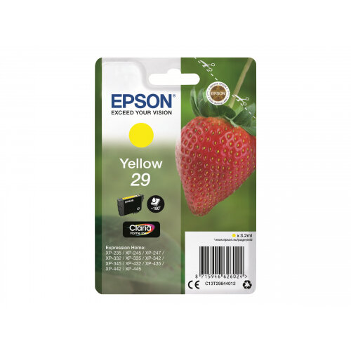 Epson 29 (C13T29844012) - 3.2 ml - yellow - original - blister - ink cartridge - for Expression Home XP-235, 245, 247, 332, 335, 342, 345, 432, 435, 442, 445, 455