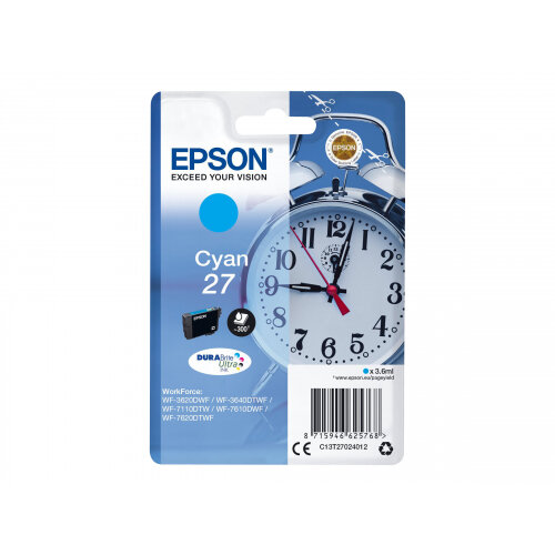 Epson 27 - 3.6 ml - cyan - original - ink cartridge - for WorkForce WF-3620, WF-3640, WF-7110, WF-7210, WF-7610, WF-7620, WF-7710, WF-7715, WF-7720