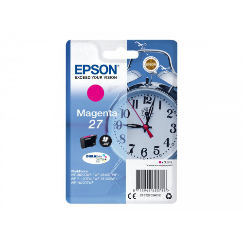 Epson 27 - 3.6 ml - magenta - original - ink cartridge - for WorkForce WF-3620, WF-3640, WF-7110, WF-7210, WF-7610, WF-7620, WF-7710, WF-7715, WF-7720 (C13T27034012)